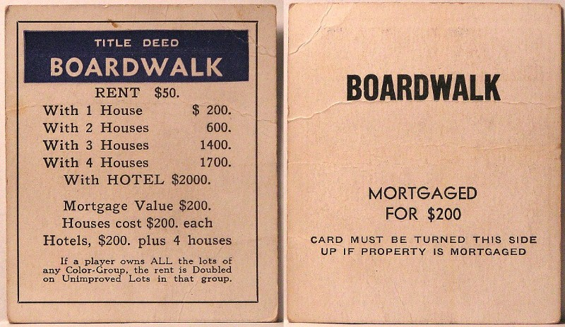 MONOPOLY TITLE DEEDS - PARKER BROS STYLE c.LATE 1935