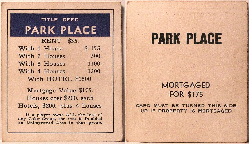 graphic regarding Monopoly Property Cards Printable referred to as MONOPOLY Name DEEDS - PARKER BROS Structure c.LATE 1935