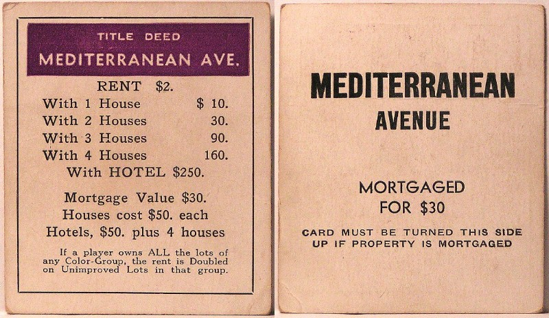 Image result for mediterranean avenue deed